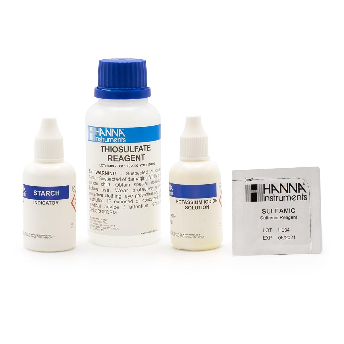 Reagenti di ricambio per test kit cloro totale scala alta (100 analisi) - HI38022-100