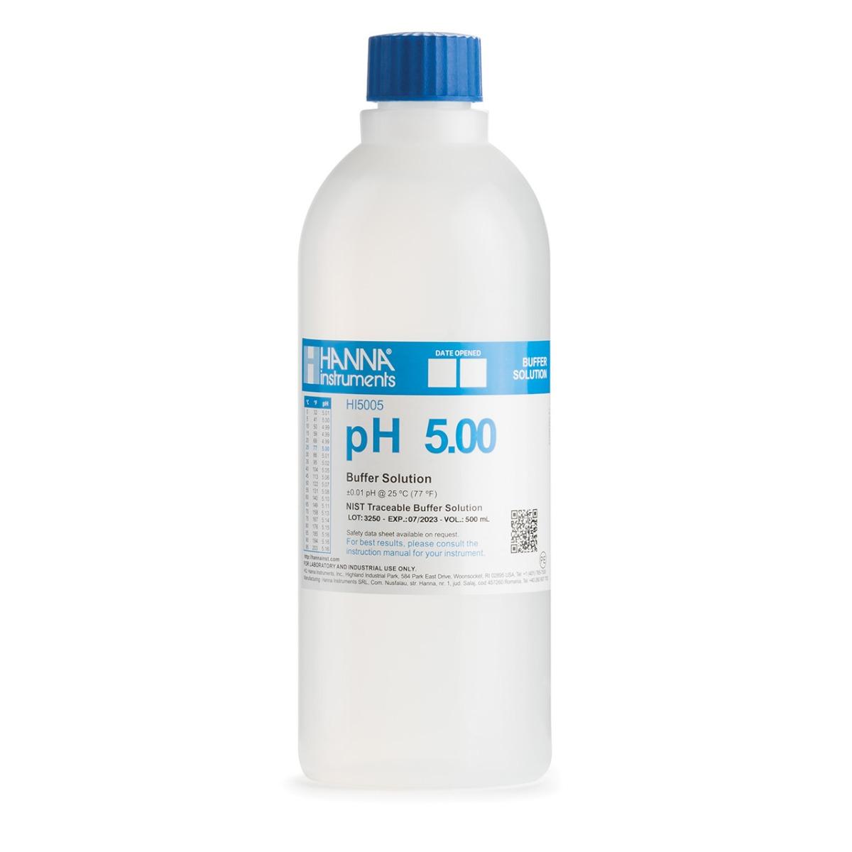 HI5005 pH 5.00 Technical Calibration Buffer (500 mL)