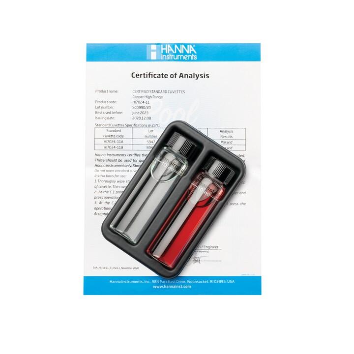 Cuvette standard di verifica per Checker HC HI7024 Rame Scala Alta – HI7024-11