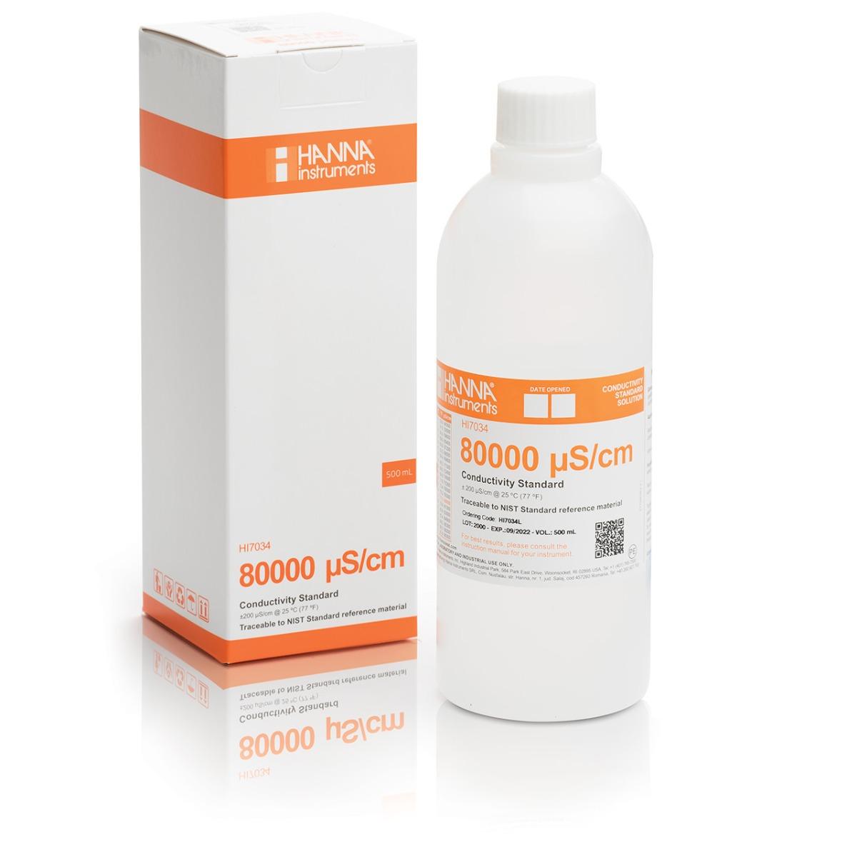 HI7034L 80000 µS/cm Conductivity Standard (500mL Bottle)