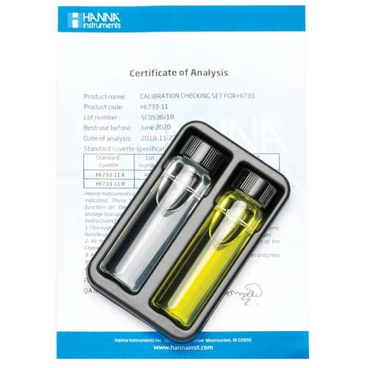 HI733-11 Cuvette standard di calibrazione per Checker HC® Ammoniaca Scala Alta
