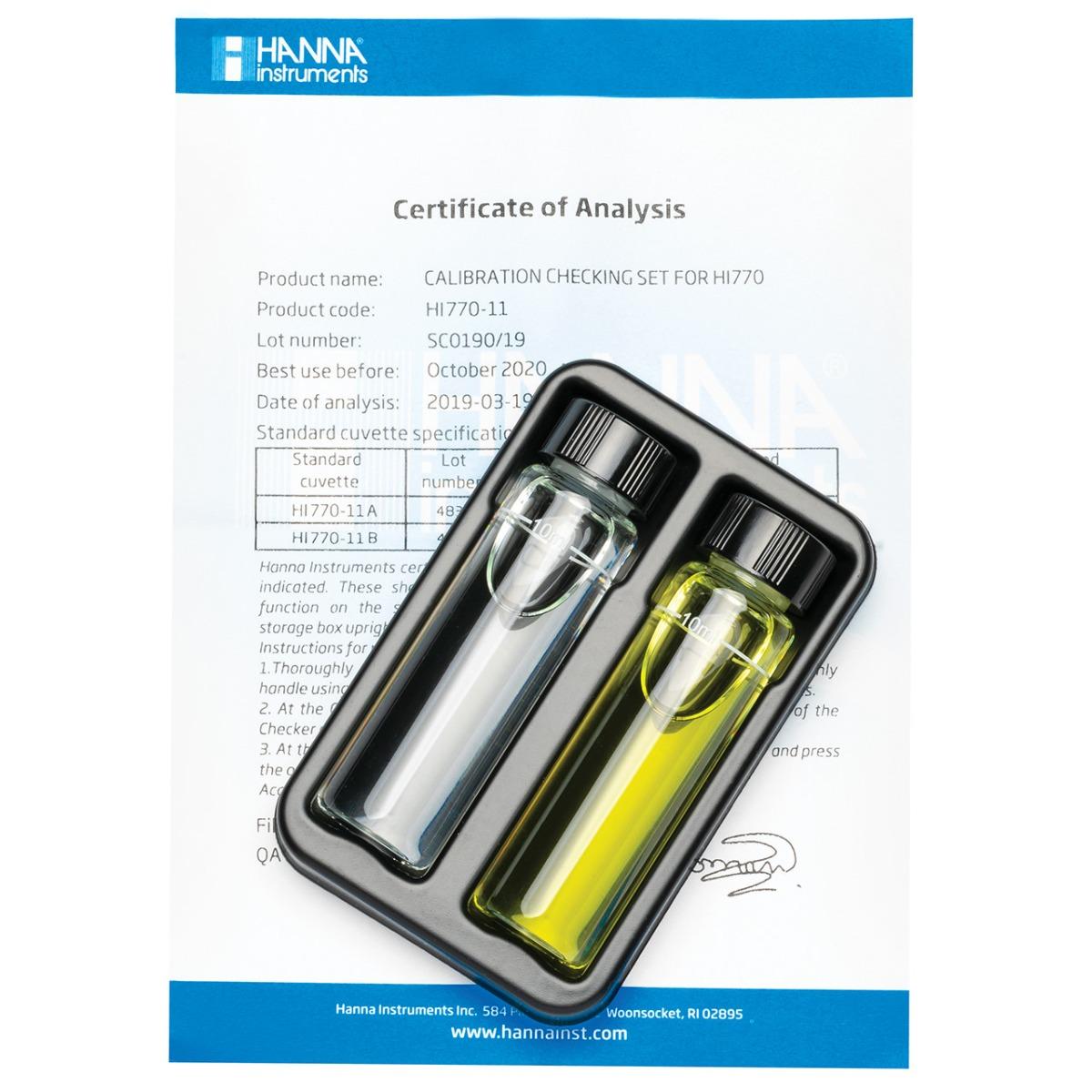 HI770-11 Cuvette standard di calibrazione per Checker HC® Silice Scala Alta