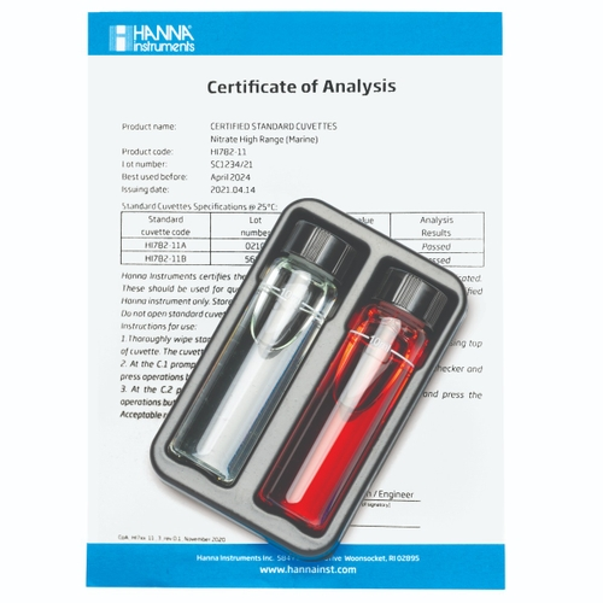 Cuvette Standard per Checker Nitrati in acqua di mare (Scala Alta) - HI782-11