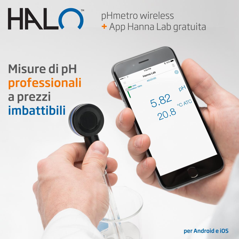 Halo sonda digitale pH Bluetooth per provette